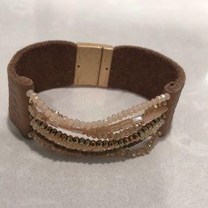 Magnetic Tan Leather & Beaded Bracelet EUC